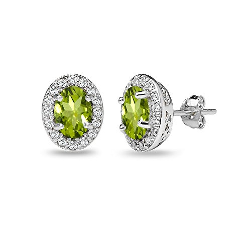 Sterling Silver Peridot & White Topaz Oval Halo Stud Earrings with White Topaz Accents - Oval Peridot Polished Earrings