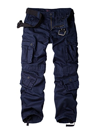 Must Way Women's Casual Loose Fit Camouflage Multi Pockets Cargo Pants Royal Blue XL
