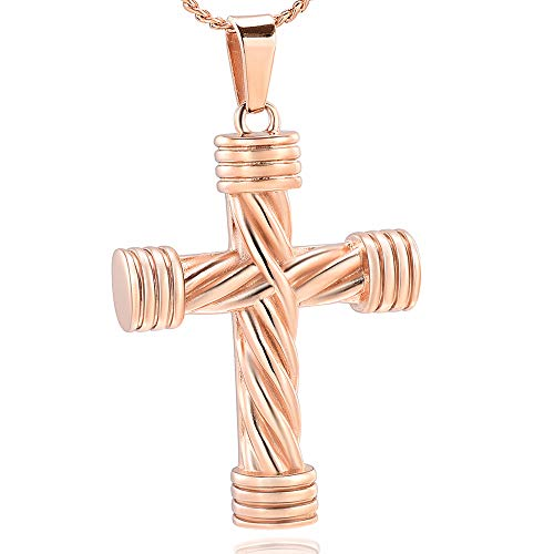 Imrsanl Cremation Jewelry for Ashes Cross Urn Necklace Pendant Keepsake Religious Cross Memorial Ash Jewelry (Rose Gold)