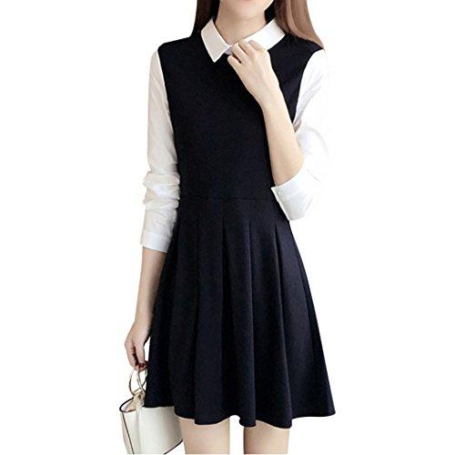 Sun Lorence Women Big Size Elegant Stitching Office Lady Pleated Shirt Dress 4XL - Ruched Shimmer