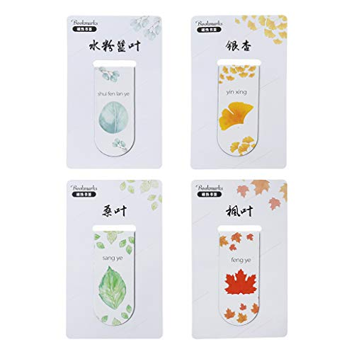niumanery Autumn Leaf Simple Plant Magnetic Bookmark Book Marker Page Clip Office Supplies Student Stationery Souvenir Collection Kids Gift