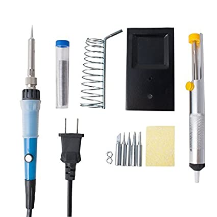 Kit DealMux del sistema completo de 60W 110V Soldador de temperatura ajustable 5pcs diversas extremidades Bomba
