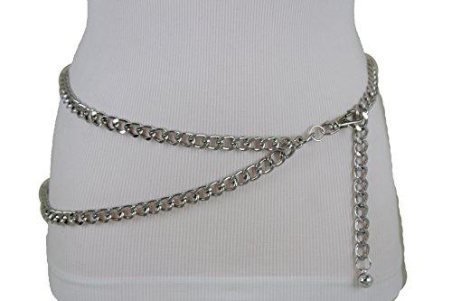 TFJ Women Narrow Belt Hip High Waist Silver Metal Chunky Chain Strands S M