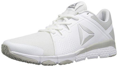 Reebok Women's Trainflex Cross-Trainer Shoe, White/Skull Metallic Silver/Grey, 8 M US