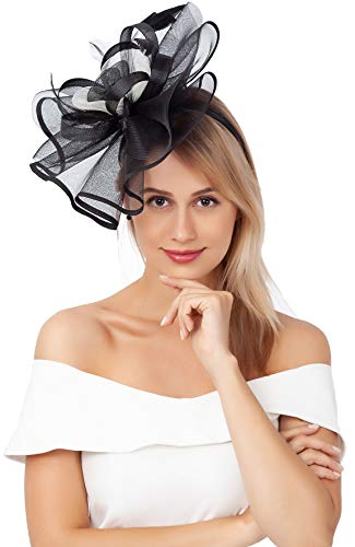 Myjoyday Cocktail Fascinators for Women Derby Wedding Headband Tea Party Headwear Hair Fascinator Hats for Ladies (Black and White)