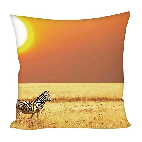 (YOLIYANA Safari Decor Throw Pillow Case Cushion,Zebra at Sunset on The Grass African Mammal Culture Icon Tropical Lands Photo for Home Outdoor Couch Sofa,15.7