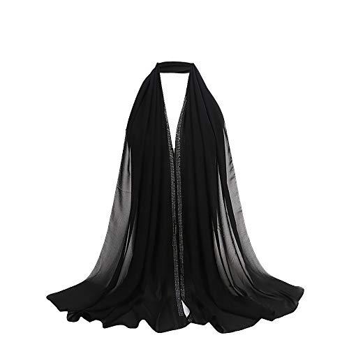 UONQD Fashion Women Ladies Chiffon Scarf Muslim Soft Wrap Long Shawl(OneSize,Black)