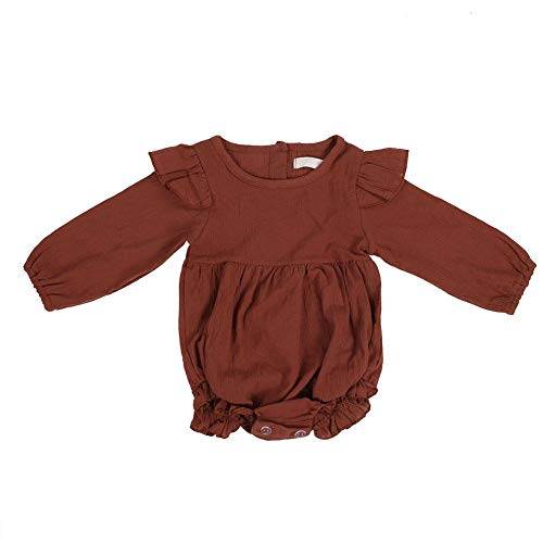 Infant Baby Girl's Clothes Bodysuit Toddlers O-Neck Long Sleeve Ruffles Cotton Jumpsuit for 0-18 Months Baby(80cm-Caramel) ()