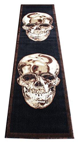 Americana Area Rug Runner 2 Ft. X 7 Ft. 3 In. Skull Black/brown Design #134