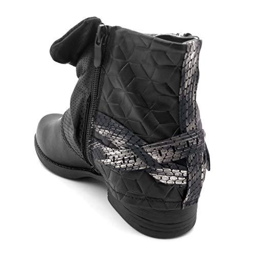 Clouté Peau Fourrée Chaussure Bloc Cm Serpent Femme 2 Lanière De Bottine Angkorly Cavalier 3 Noir Mode Intérieur Motard Talon Fdffv