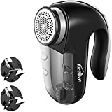 Fabric Shaver, Lint Remover with Two Replaceable Blades & Removable bin, Best Lint Shaver for Cloths, Fabrics and Furniture. Use with Batteries or Power Adapter, by Kealive