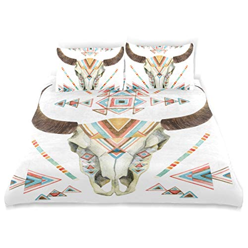 MIGAGA Duvet Cover Set, Cow Skull in Tribal Style Animal with Ethnic Ornament Buffalo Isolated On White Backgrou Print, Decorative 3Pc Bedding Sets with 2 Pillow Shams Full Size