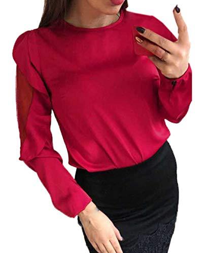 Simple-Fashion Autunno Donne Tops Primavera Giovane Moda Tulle Cucitura Maglie a Manica Lunga Bluse T-Shirt Camicie Casual Rotondo Collo Cime Maglietta Rosso