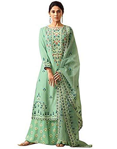 - DesiButik's Beautiful Jennifer Green Maslin Silk Salwar Kameez with Pure Organza Dupatta