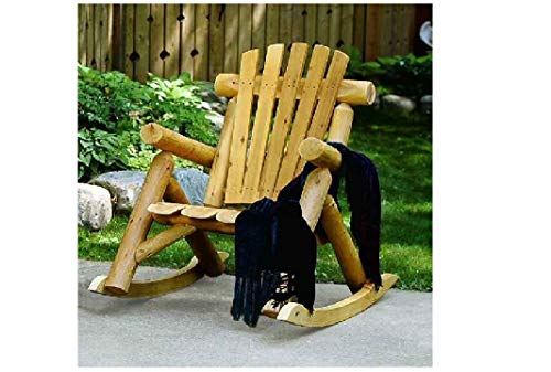 Rustic High Back Rocking Chair - Lakeland Mills Cedar Log Rocking Chair, Natural