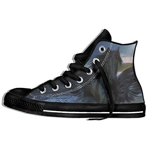 Classic High Top Sneakers Canvas Shoes Anti-Skid Pegasus Casual Walking For Men Women Black rfq9MhnJ