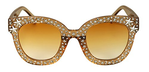 Edge-I-Wear Cat Eye Round-shaped Rhinestone Sunglasses w/Stars and Flat Color Lens - For Best Sunglasses Shaped Face Oval