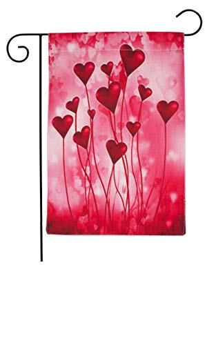 Happy Valentines Garden Flag with Red Love Hearts for Outdoor Decorations Double Sided Flags House Yard Party Decor Flag for Home Backyard Flag Garden 12 x 18 Inch by MeritChoice