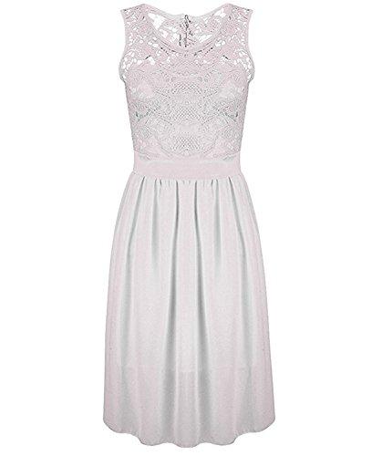 Fordbox Women Summer Sleeveless Lace Patchwork Chiffon Midi Dress WhiteLarge (Yakima Wa Stores)