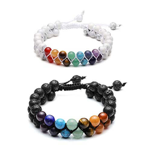 Top Plaza 7 Chakra Bracelet Natural Lava Rock Stones White Turquoise Beads Bracelets Aromatherapy Essential Oil Diffuser Bracelet Stress Relief Anxiety Bracelets for Couples ()