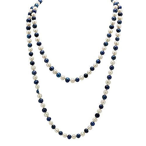 Lux Round Genuine Navy Blue and White Cultured Freshwater Pearl Endless Necklace 48