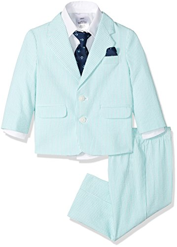- Nautica Boys' 4-Piece Suit Set with Dress Shirt, Tie, Jacket, and Pants, Florida Green Seersucker, 12 Months