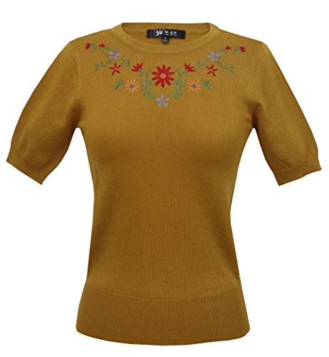 Daisy Flower Embroidered Cute Pullover Sweater Vintage Inspired MK3664EMBO-BRZ-S Bronze