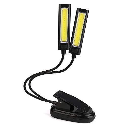 - Iuhan USB LED COB Light, Flexible USB Clip-On 2X COB LED Light Reading Study Desk Table Lamp Rechargeable (Black)