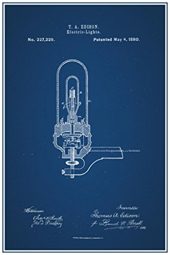 Edison Electric Light Bulb 1880 Official Patent Blueprint Po