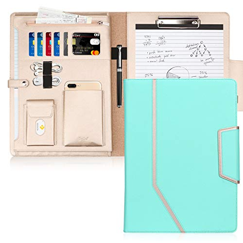Toplive Padfolio Portfolio Case, Conference Folder Executive Business Padfolio with Document Sleeve,Letter/A4 Size Clipboard,Business Card Holders, Portfolio Padfolio for Women/Men,Mint - Business Cards Green Executive