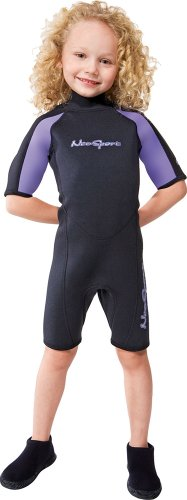 NeoSport Wetsuits Youth Premium Neoprene 2mm Youth's Shorty, Lavender Trim, 4 - Diving, Snorkeling & (Suits For Kids Online)