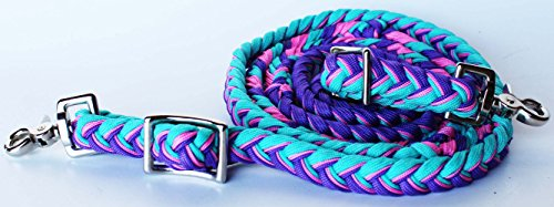 Roping Knotted Horse Tack Western Barrel Reins Nylon Braided Turquoise (Nylon Barrel Reins)