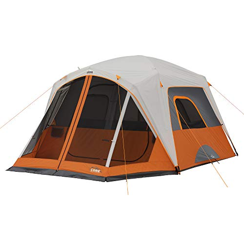 CORE 6 Person Straight Wall Cabin Tent with Screen Room