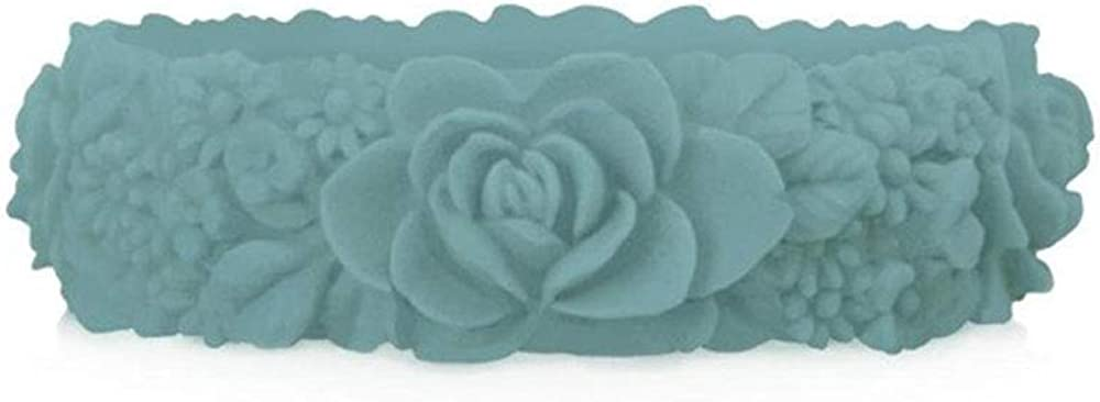 obag Pulsera Silicona con Estampado 3D Flores Turquesa Menta