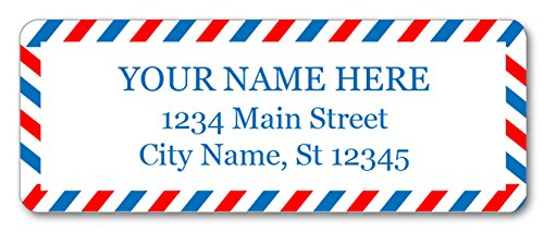(Personalized Return Address Labels - Vintage USA Airmail Design - 120 Custom Self-Adhesive Stickers)