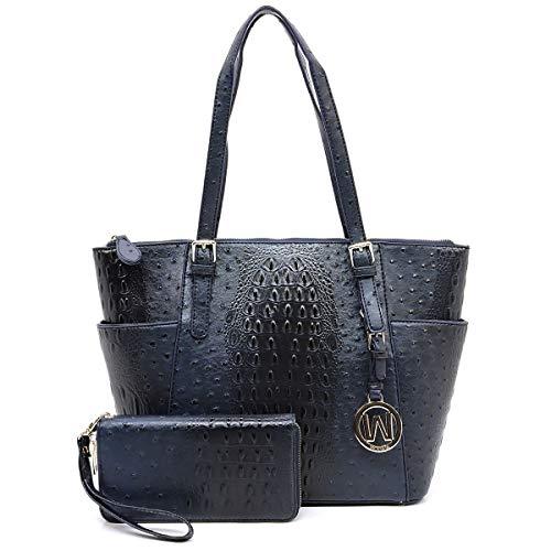 Wynn Fashions Ostrich Embossed Zip-top Tote w/Side Pockets + Wallet (Navy) - Embossed Top Zip Tote