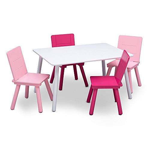 Delta Children Kids Chair Set and Table (4 Chairs Included), White/Pink -