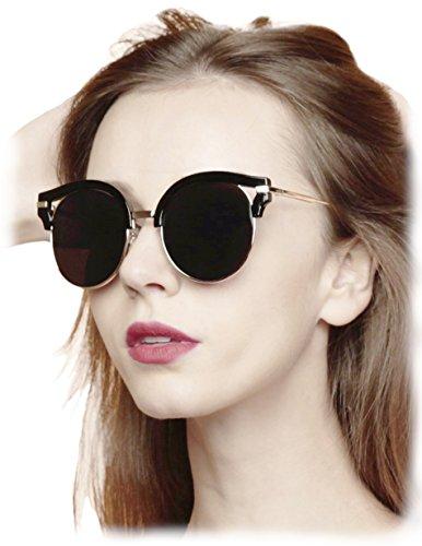O2 Eyewear 92006 Premium Oversize Cat Eye Round Mirrored Flat Lenses Street Fashion Metal Frame Women Sunglasses (GOLD ARM, - Sunglasses Street High