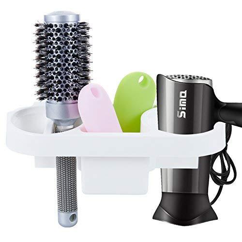 Mucjun Double Hole Hair Dryer Holder Straightener Holder Organizer,No Drilling Wall Mounted for Bathroom,Hotel,Washroom Accessories Storage Organizer