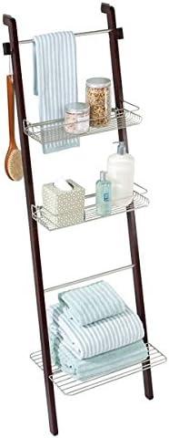 mDesign estantería escalera para ropa y toallas de baño - Estante madera con baldas de almacenamiento y toallero integrado - Color café / bambú: Amazon.es: Hogar