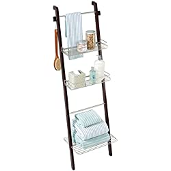 mDesign Free Standing Bathroom Storage Ladder with Shelves for Towels, Soap, Candles, Tissues, Lotion, Accessories - Espresso/Satin