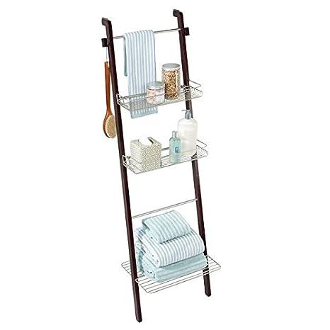 mDesign estantería escalera para ropa y toallas de baño - Estante madera con baldas de almacenamiento y toallero integrado - Color café / bambú: Amazon.es: ...