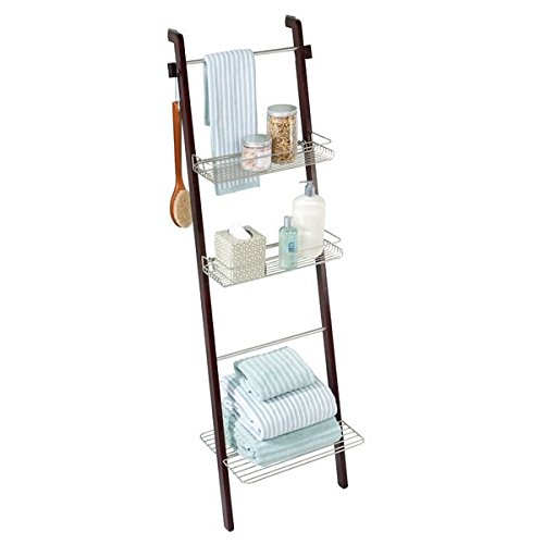 mDesign Free Standing Bathroom Storage Ladder with Shelves for Towels, Soap, Candles, Tissues, Lotion, Accessories - Espresso/Satin (Ladder With Towel Shelf)