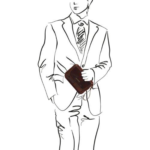 Tuscany Leather Ivan - Bolsillo de señor en piel Marrón oscuro Bolsos en piel Marrón