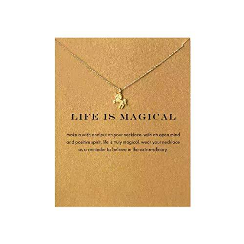 QXFQJT Unicorn Wish Necklace Pendant Chain for Women]()