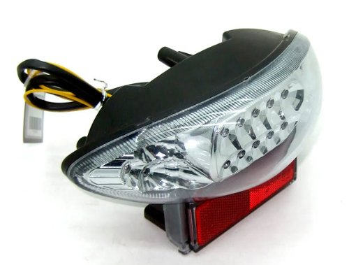 (Rear Running Tail Turn Signal Light Integrated LED Motocycle Fit For Suzuki 1999-2007 Hayabusa GSX1300R Chrome)