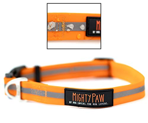 Mighty Paw Waterproof Dog Collar, Smell-Proof Active Dog Gear, Coated Nylon Webbing with Reflective Stripe. (Orange, Medium)