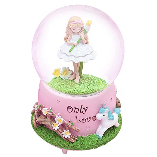 - HIKEL Music Box Snow Globes Flower Fairy and Unicorn Base Luminous Water Globe for Childrens Girls Gift Holiday Day Best Gifts