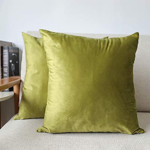 4TH Emotion Pack of 2 Cozy Velvet Throw Pillow Covers Cases for Couch Sofa Home Decoration, 18 X 18 Inches Olive Green ()