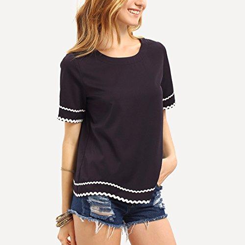 Estilo japonés del verano de la muchacha El color sólido simple del desgaste del hogar empapó la camiseta ocasional Tops dulces de la camiseta Negro